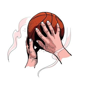 Arte de linha de vetor de basquete