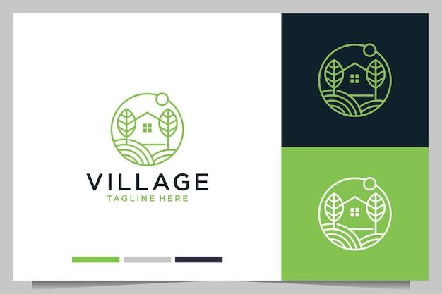 Arte de linha de vila verde com design de logotipo para casa