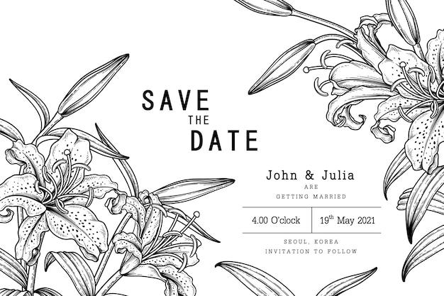 Arte de linha desenhada à mão flor de lírio com raias douradas lilium auratum conjunto decorativo isolado em fundos brancos