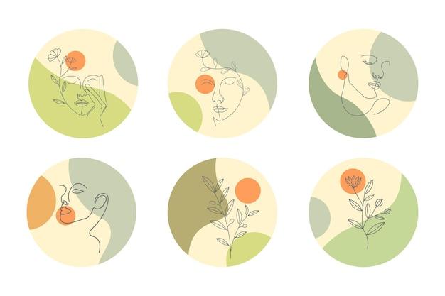 Arte de linha desenhada à mão para história de capa instagram