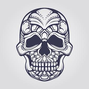 Arte de linha do crânio decorativo