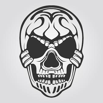 Arte de linha do crânio preto e branco para tatuagem
