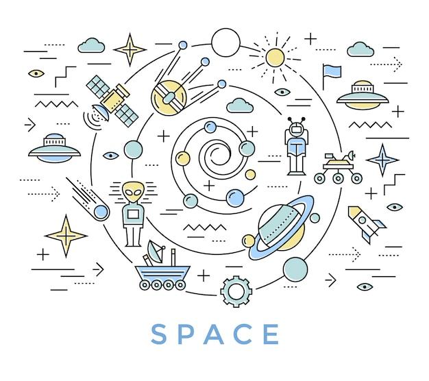 Arte de linha do espaço