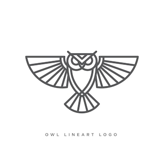 Arte de linha do logotipo da coruja
