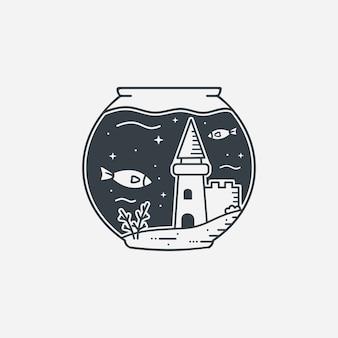 Arte de linha do mundo pequeno sob a água
