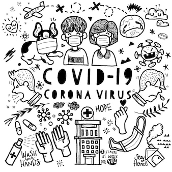 Arte de linha doodle conjunto de desenhos animados de covid-19, tema de coronavírus