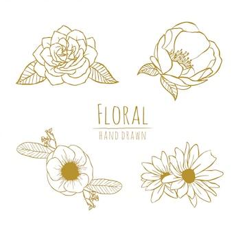 Arte de linha floral mão desenhada flor ouro