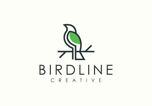 Arte de linha inspiradora pássaro moderno logotipo
