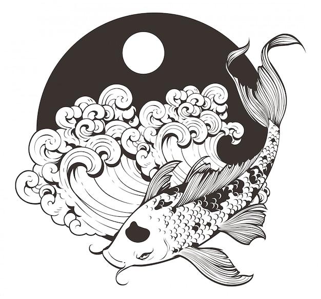 Arte de linha japonesa carpa koi