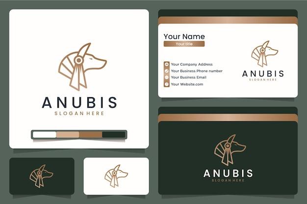 Arte de linha luxuosa da anubis, legal, design de logotipo e cartão de visita