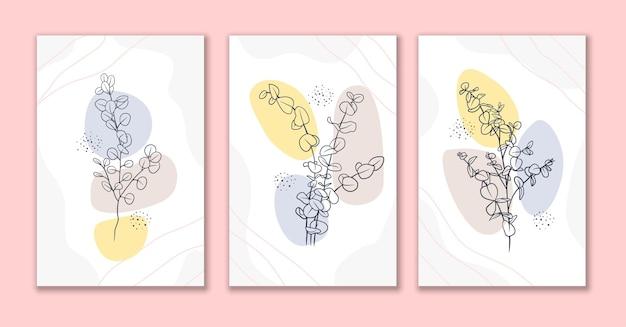 Arte de linha mínima com flores e folhas design de pôster a