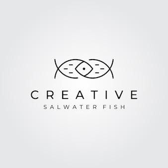 Arte de linha minimalista com logotipo abstrato de peixe