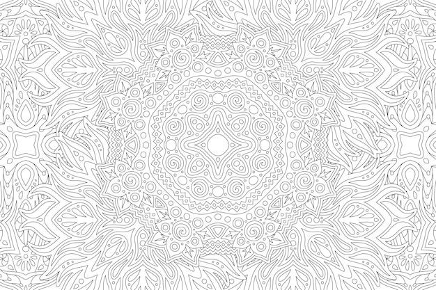 Arte de linha para colorir livro com padrão cósmico