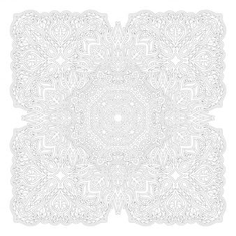 Arte de linha para colorir livro com padrão de quadrados
