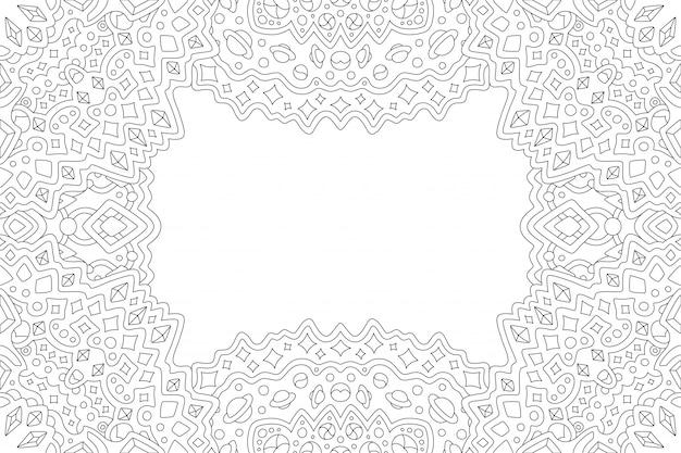 Arte de linha para colorir página de livro com borda cósmica