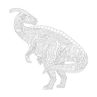 Arte de linha para colorir página de livro com parazaurolof