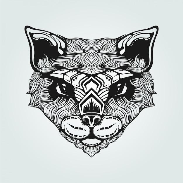 Arte de linha preto e branco de gato