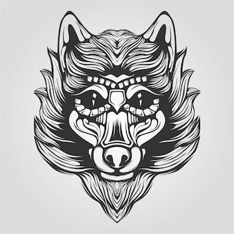 Arte de linha preto e branco de lobo