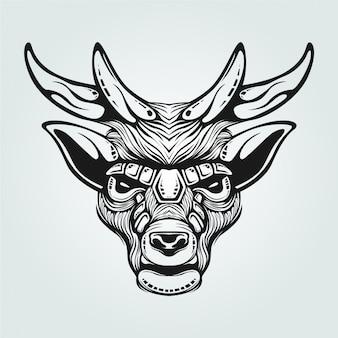Arte de linha preto e branco de renas com rosto decorativo