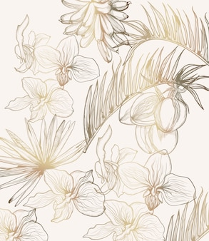 Arte de linha tropical flores douradas. decorações de quadro floral verão