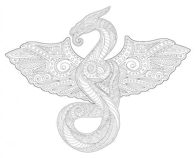 Arte de livro de colorir adulto com cobra e asas