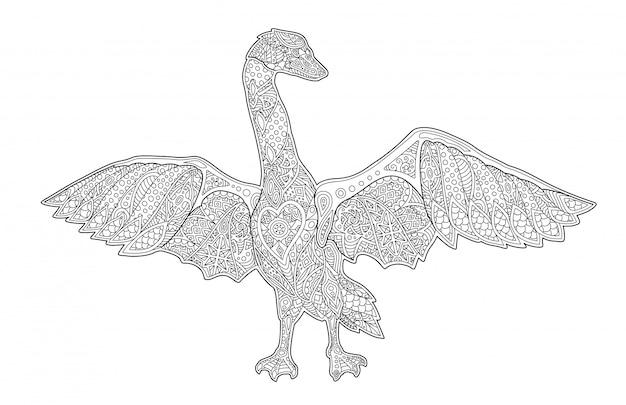 Arte de livro de colorir com cisne isolado dos desenhos animados