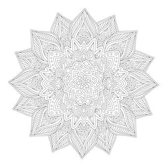 Arte de livro para colorir com linda flor estilizada