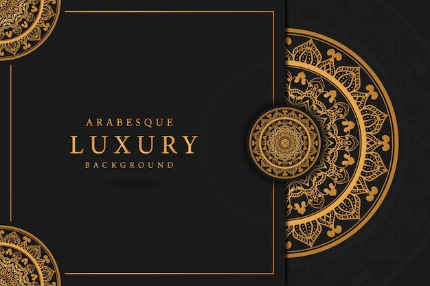 Arte de mandala de luxo com arabescos dourados