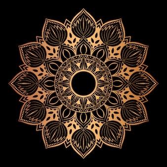 Arte de mandala de luxo com estilo oriental de fundo dourado 6