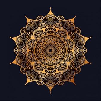 Arte de mandala de luxo com estilo oriental islâmico árabe de fundo arabesco dourado