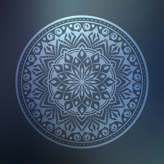 Arte de mandala de luxo com estilo oriental islâmico árabe de fundo arabesco prata