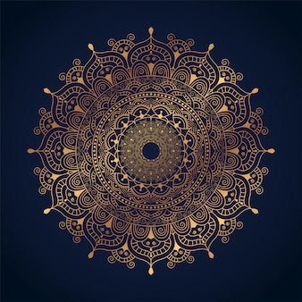 Arte de mandala de luxo com ilustração de arabesco dourado