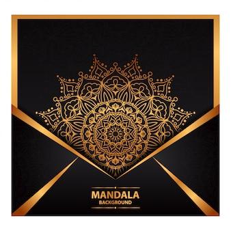 Arte de mandala de luxo para convite de casamento