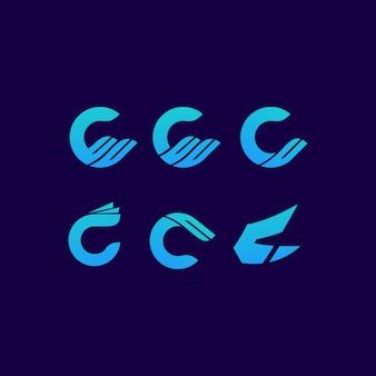 Arte de marca de letra de logotipo c