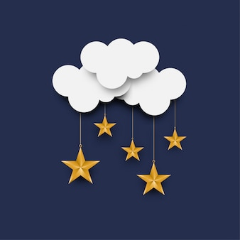 Arte de papel com nuvens e estrelas. chovendo fundo de estrelas. ilustração.