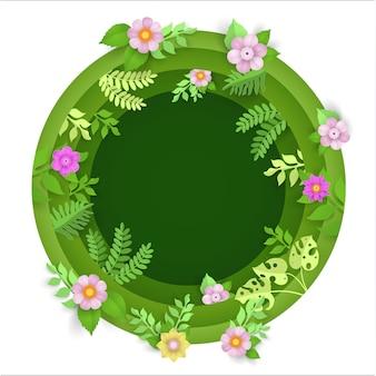 Arte de papel com plantas e flores em um círculo na primavera