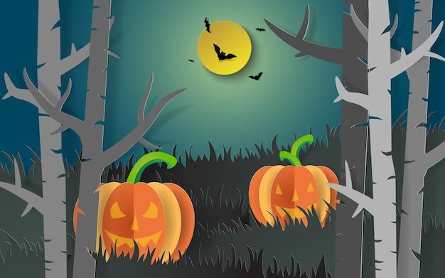Arte de papel da festa de halloween, abóbora na floresta