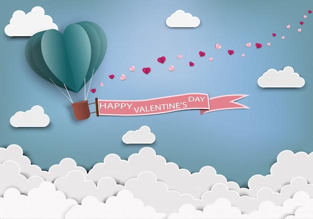 Arte de papel de amor e origami feito em forma de coração de balão de ar voando com etiqueta do dia dos namorados.