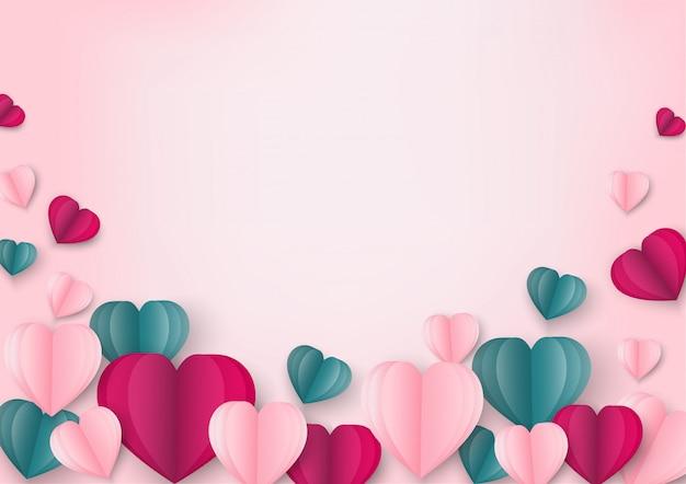 Arte de papel de amor e origami feito em forma de coração em rosa pastel voando