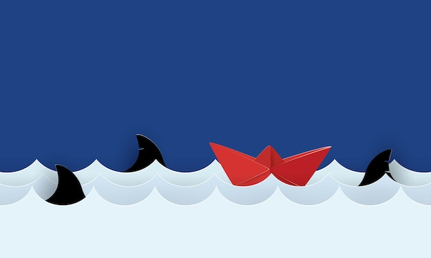 Arte de papel de barco de papel navegando no mar com tubarões