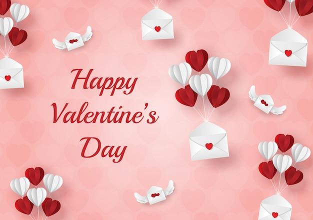 Arte de papel de carta de amor e dia dos namorados