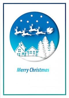 Arte de papel de cartão de feliz natal e papai noel na paisagem de cidade de neve