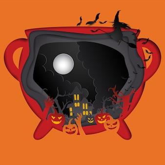 Arte de papel de cartaz feliz dia das bruxas