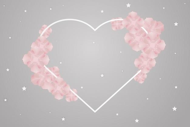 Arte de papel de flor na moldura de coração para casamento