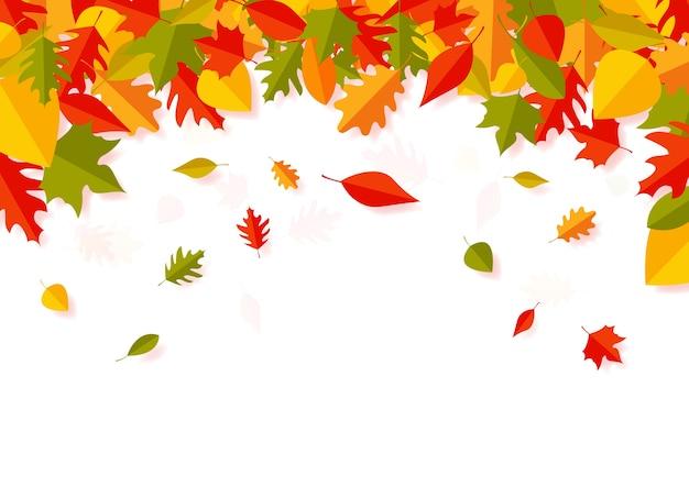 Arte de papel de folhas de outono caindo