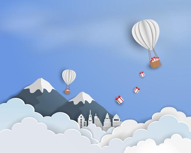 Arte de papel de fundo de céu azul com balão branco
