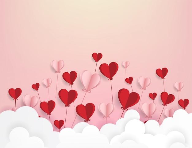 Arte de papel de ilustração amor e dia dos namorados