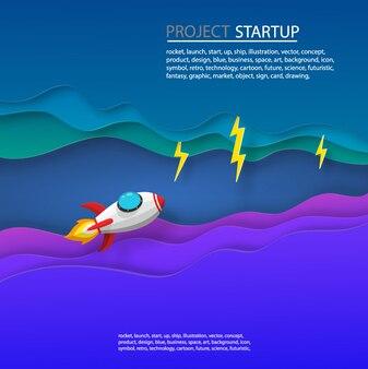 Arte de papel de lançamento de foguete espacial para o céu