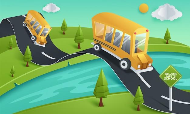 Arte de papel de ônibus escolar rodando na estrada do país, volta ao conceito de escola
