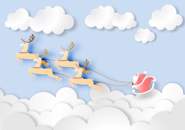 Arte de papel de papai noel com rena no vetor de céu azul